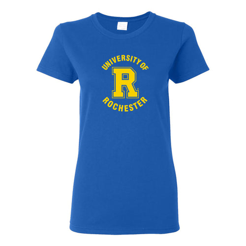 University of Rochester Yellowjackets Arch Logo Womens Short Sleeve T Shirt - Royal