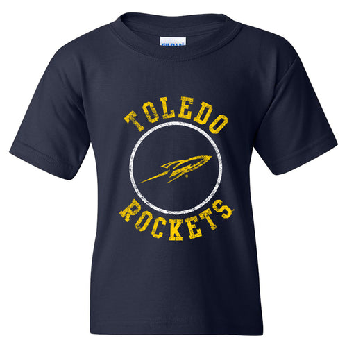 University of Toledo Rockets Distressed Circle Logo Heavy Cotton Short Sleeve Youth T Shirt - Navy