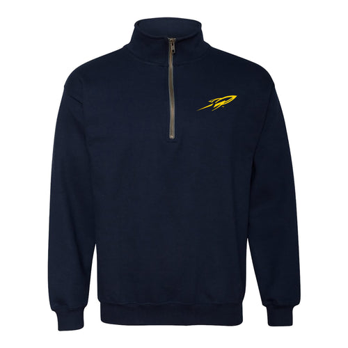 University of Toledo Rockets Primary Logo Left Chest Quarter Zip Sweatshirt - Navy