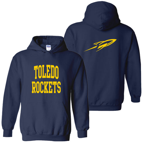University of Toledo Rockets Front Back Print Heavy Blend Hoodie - Navy
