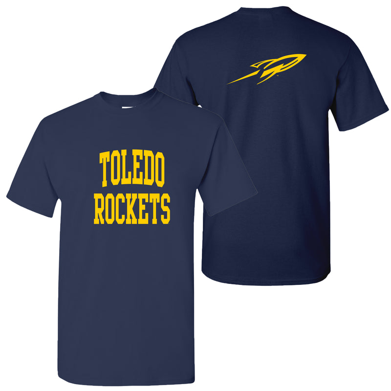 University of Toledo Rockets Front Back Print Short Sleeve T Shirt - Navy
