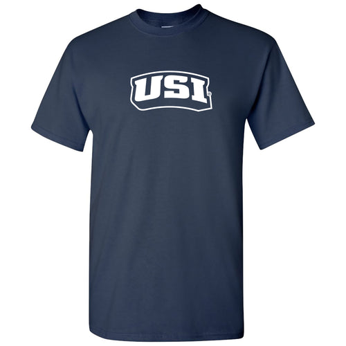 University of Southern Indiana Screaming Eagles Basic Block Cotton Short Sleeve T Shirt - Navy