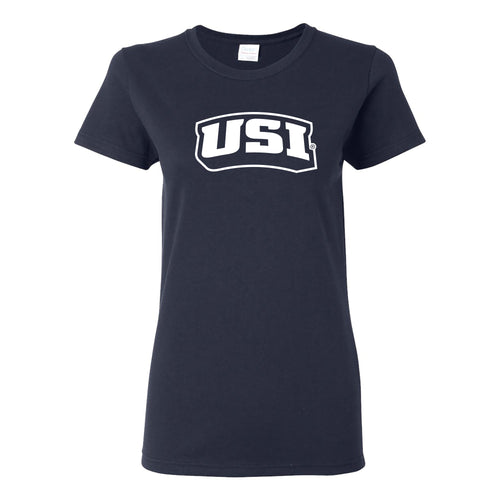 University of Southern Indiana Screaming Eagles Basic Block Cotton Short Sleeve Womens T Shirt - Navy
