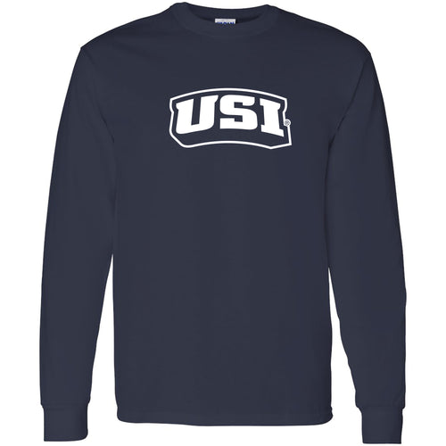 University of Southern Indiana Screaming Eagles Basic Block Heavy Cotton Long Sleeve T Shirt - Navy