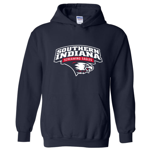 University of Southern Indiana Screaming Eagles Arch Logo Heavy Blend Hoodie - Navy