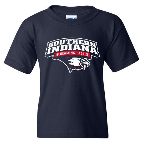 University of Southern Indiana Screaming Eagles Arch Logo Basic Cotton Short Sleeve Youth T Shirt - Navy