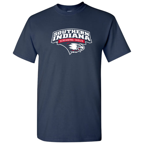 Arch Logo University of Southern Indiana Basic Cotton Short Sleeve T Shirt - Navy