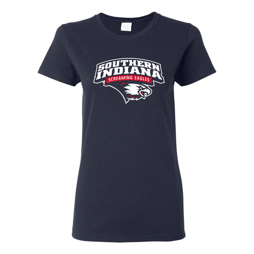 University of Southern Indiana Screaming Eagles Arch Logo Basic Cotton Short Sleeve Womens T Shirt - Navy