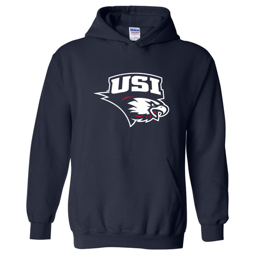 University of Southern Indiana Screaming Eagles Primary Logo Heavy Blend Hoodie - Navy