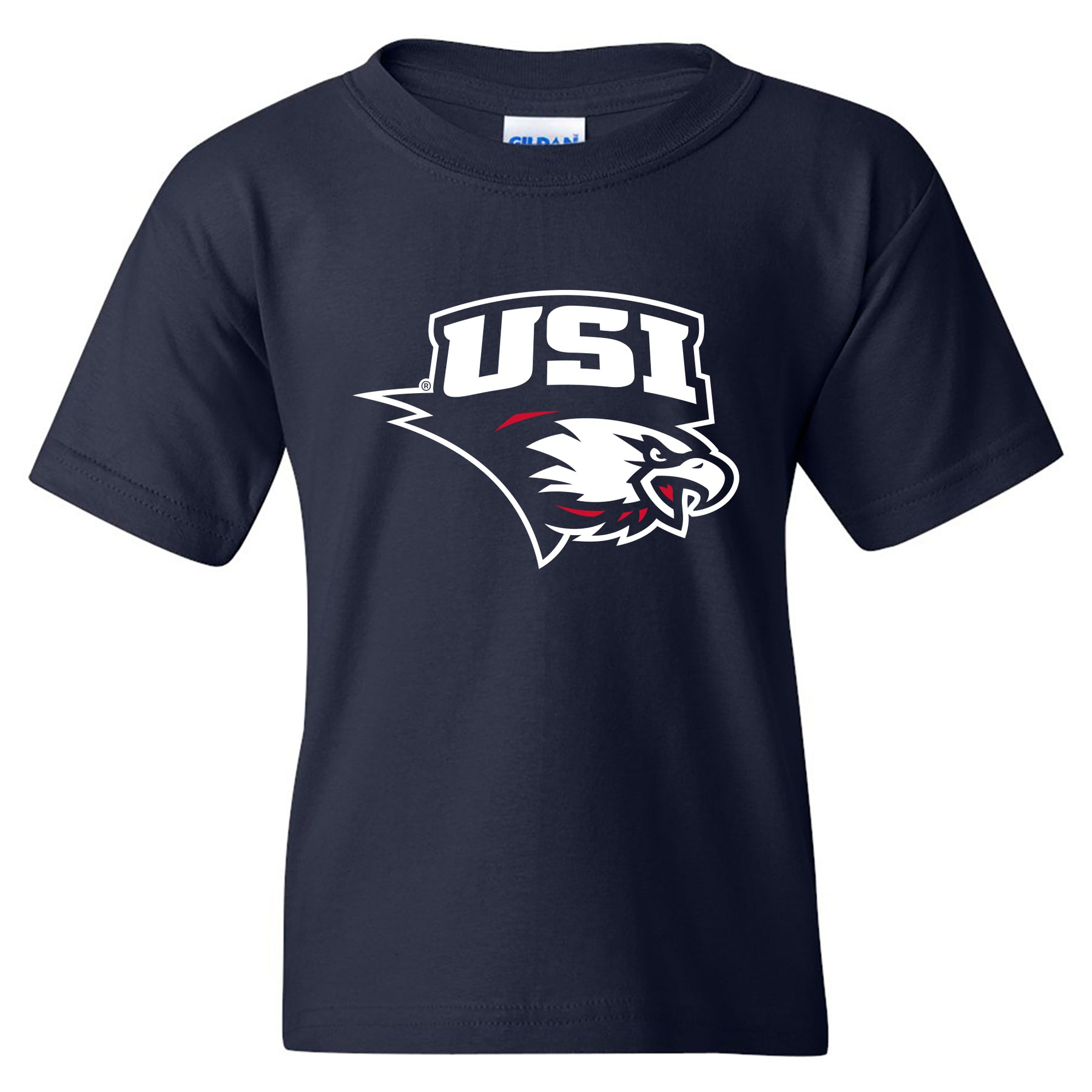 release date: 857d2 75a38 Primary Logo University of Southern Indiana Basic Cotton Short Sleeve Youth  T Shirt - Navy