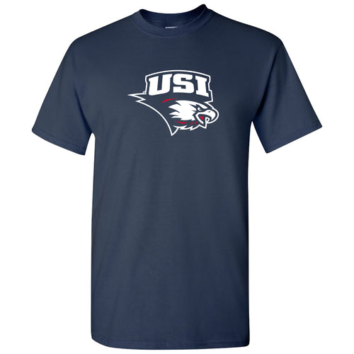 University of Southern Indiana Screaming Eagles Primary Logo Basic Cotton Short Sleeve T Shirt - Navy