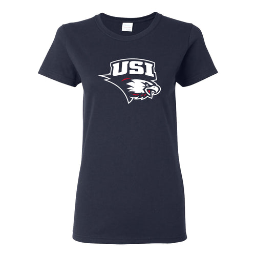 University of Southern Indiana Screaming Eagles Primary Logo Basic Cotton Short Sleeve Womens T Shirt - Navy