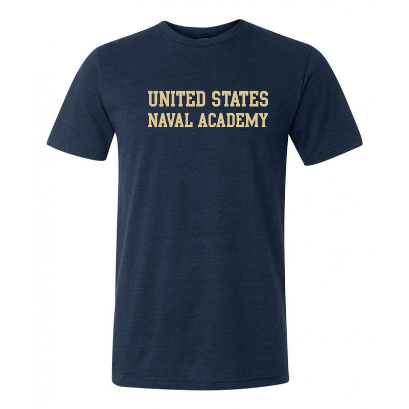 United States Naval Academy Midshipmen Basic Block Canvas Triblend Short Sleeve T Shirt - Solid Navy Triblend