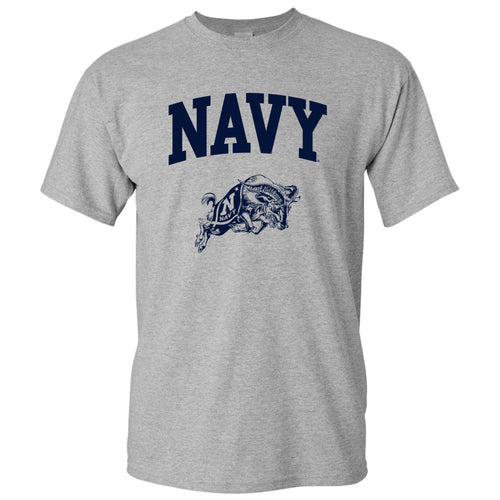 United States Naval Academy Midshipmen Arch Logo Short Sleeve T Shirt - Sport Grey