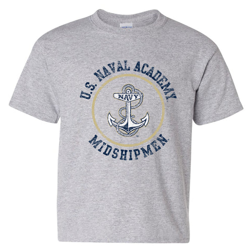 United States Naval Academy Midshipmen Circle Logo Youth Short Sleeve T Shirt - Sport Grey