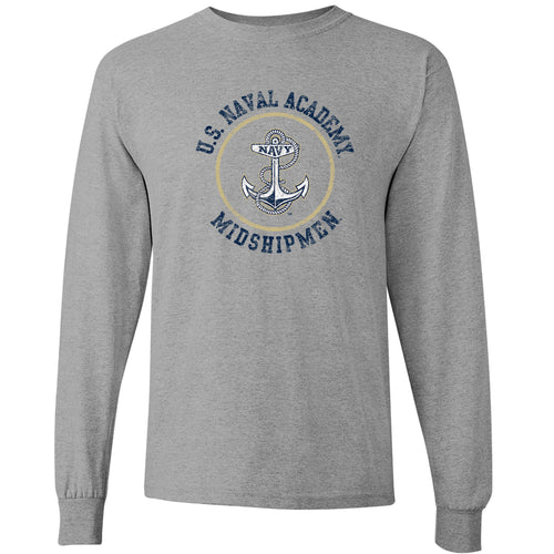 United States Naval Academy Midshipmen Circle Logo Long Sleeve T-Shirt - Sport Grey
