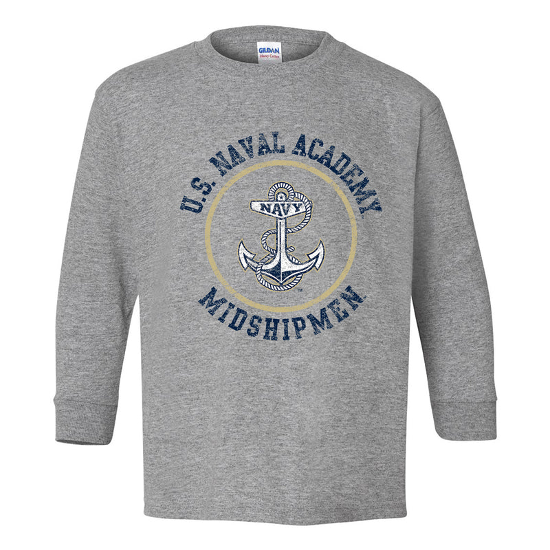 United States Naval Academy Midshipmen Circle Logo Youth Long Sleeve T Shirt - Sport Grey