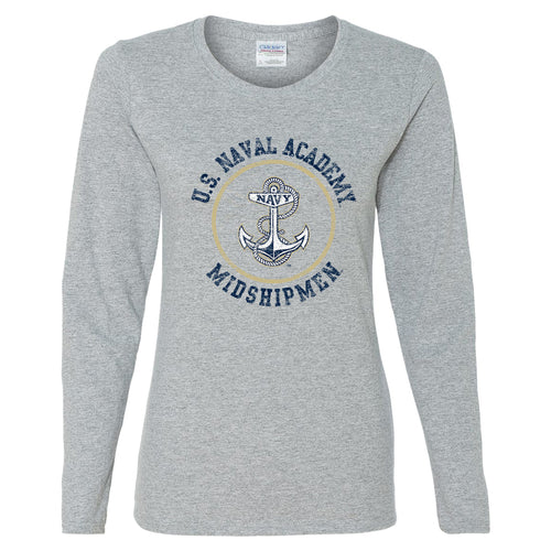 United States Naval Academy Midshipmen Circle Logo Womens Long Sleeve T Shirt - Sport Grey