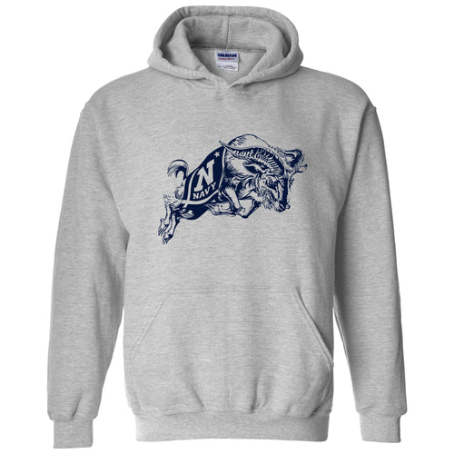 United States Naval Academy Midshipmen Primary Logo Heavy Blend Hoodie - Sport Grey