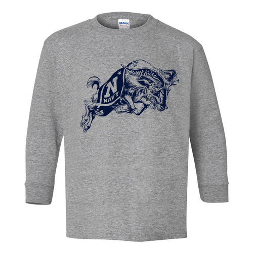 United States Naval Academy Midshipmen Primary Logo Youth Long Sleeve T Shirt - Sport Grey
