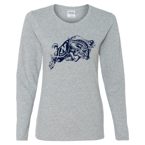 United States Naval Academy Midshipmen Primary Logo Womens Long Sleeve T Shirt - Sport Grey