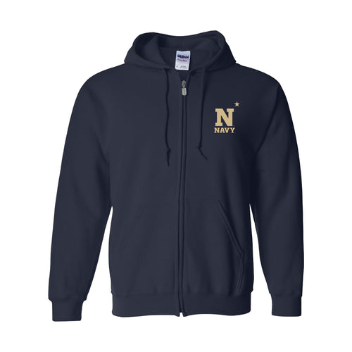 United States Naval Academy Midshipmen Primary Logo Left Chest Zip Hoodie - Navy