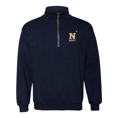 United States Naval Academy Midshipmen Primary Logo Left Chest Heavy Blend Quarter Zip Sweatshirt - Navy