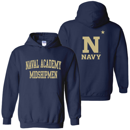 United States Naval Academy Midshipmen Front Back Print Heavy Blend Hoodie - Navy