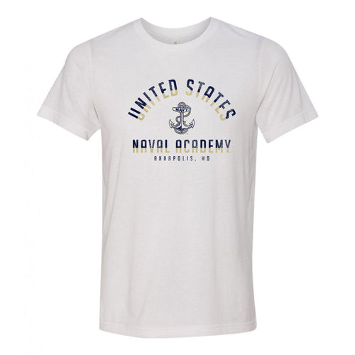 United States Naval Academy Midshipmen Division Arch Canvas Triblend Short Sleeve T Shirt - Solid White