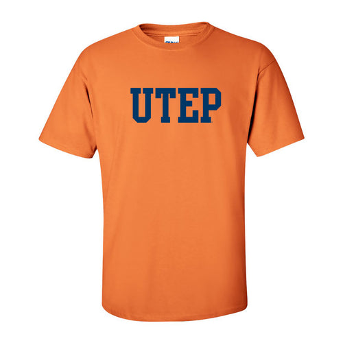University of Texas at El Paso Miners Basic Block Short Sleeve T Shirt - Tangerine