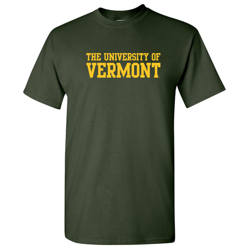 University of Vermont Catamounts Basic Block T Shirt - Forest