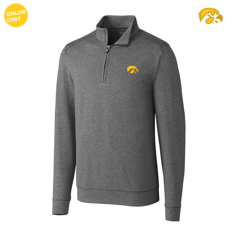 University of Iowa Hawkeye Logo Cutter & Buck Big & Tall Shoreline Half Zip - Charcoal Heather