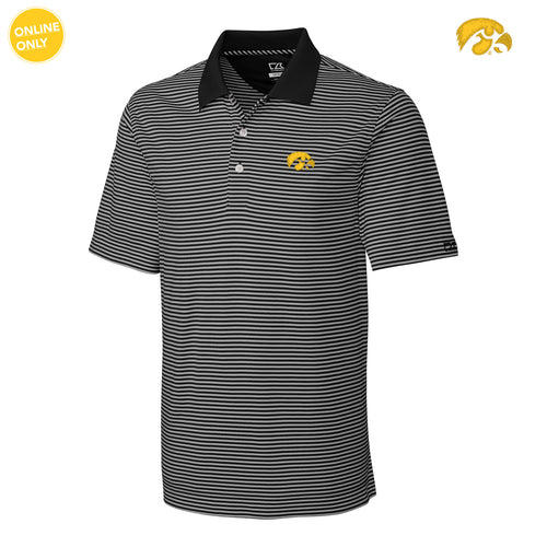University of Iowa Hawkeye Logo Cutter & Buck Big & Tall DryTec Trevor Stripe Polo - Black/Oxide