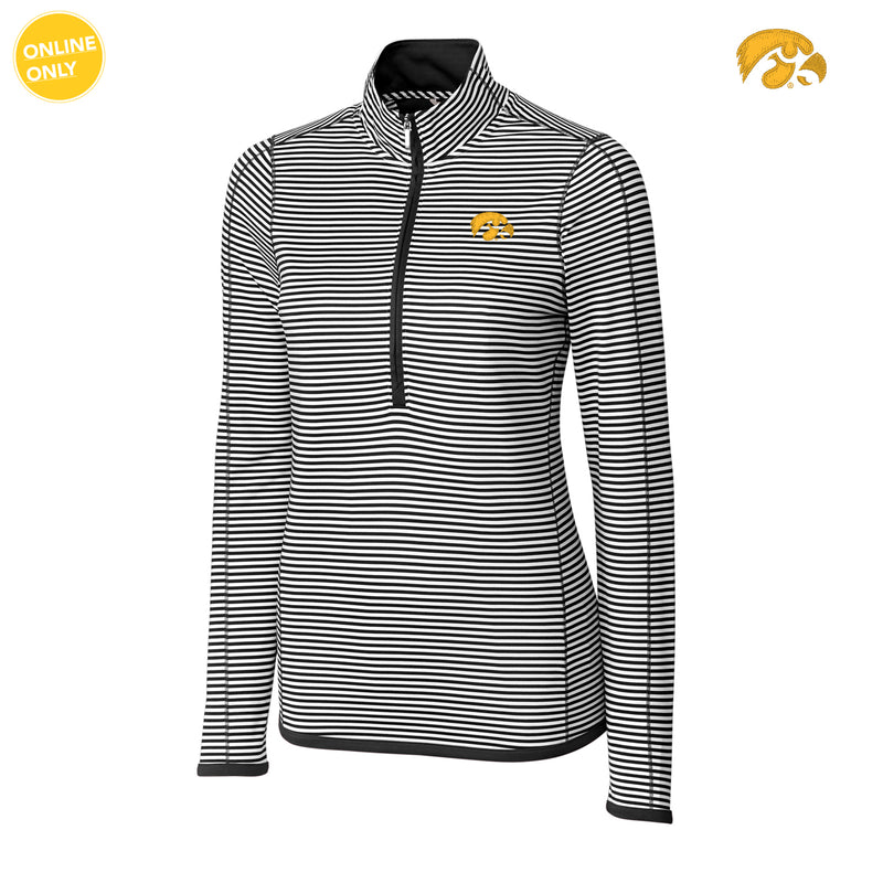 University of Iowa Hawkeye Logo Cutter & Buck DryTec Women's Long Sleeve 3/4 Zip Trevor Stripe - Black