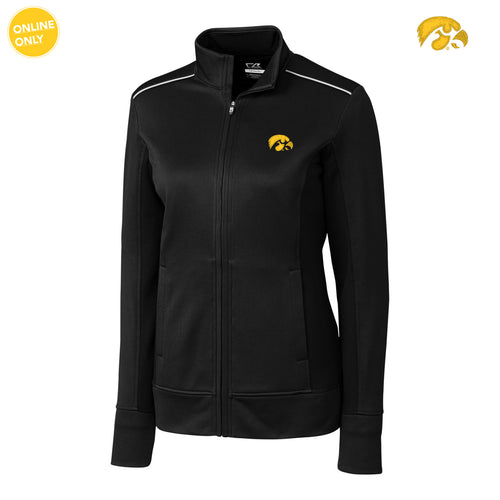 University of Iowa Hawkeye Logo Cutter & Buck Ladies Ridge Full Zip - Black