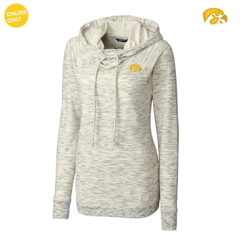 University of Iowa Hawkeye Logo Cutter & Buck Women's Long Sleeve Tie Breaker Hoodie - Snow White