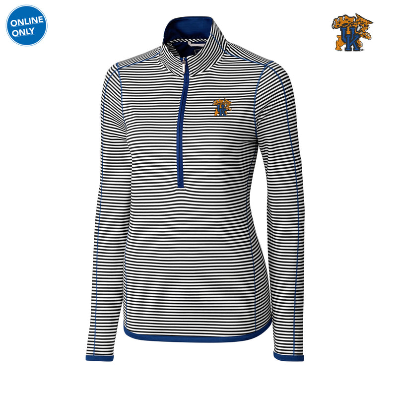 UK CB DryTec Women's Long Sleeve 3/4 Zip Trevor Stripe - Tour Blue