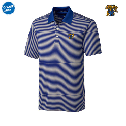 UK Cutter & Buck Trevor Stripe Polo - Tour Blue/Oxide