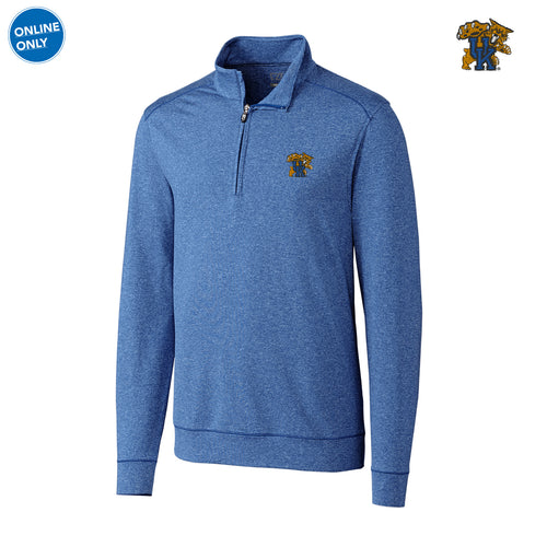 Kentucky Cutter & Buck Big & Tall Shoreline Half Zip - Tour Blue Heather