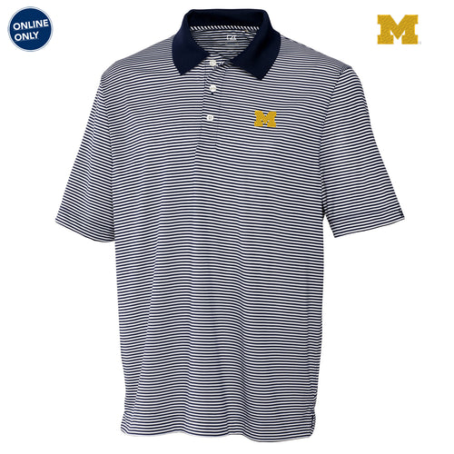 Block M Primary Logo Left Chest University of Michigan Cutter & Buck Big & Tall DryTec Trevor Stripe Polo - Navy Blue/White