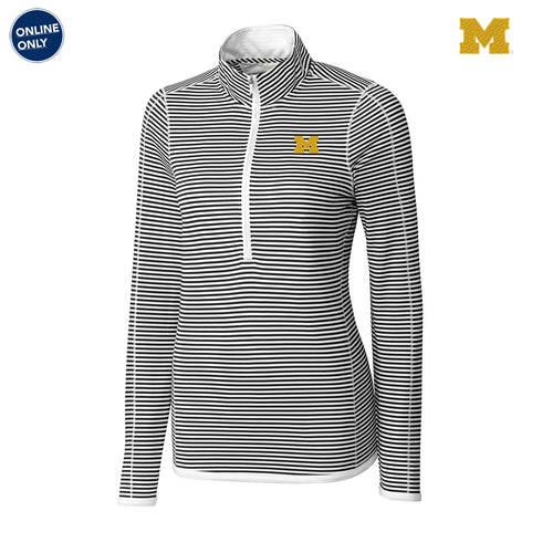 Block M Primary Logo University of Michigan Cutter and Buck DryTec Women's Long Sleeve Three Quarter Zip Trevor Stripe - White