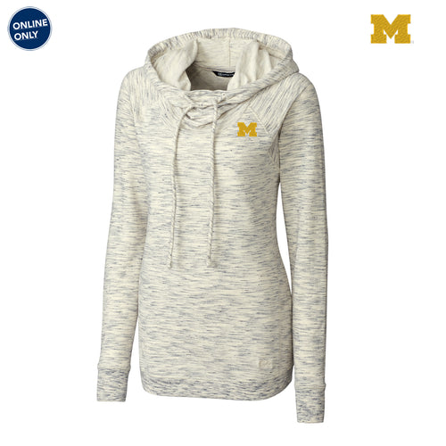 Block M Primary Logo Cutter & Buck Women's Long Sleeve Tie Breaker Hoodie - Snow White