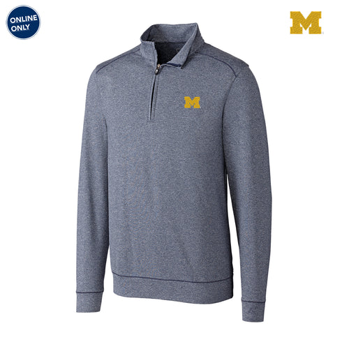 Block M Primary Logo University of Michigan Cutter & Buck Big & Tall Shoreline Half Zip - Liberty Navy Heather