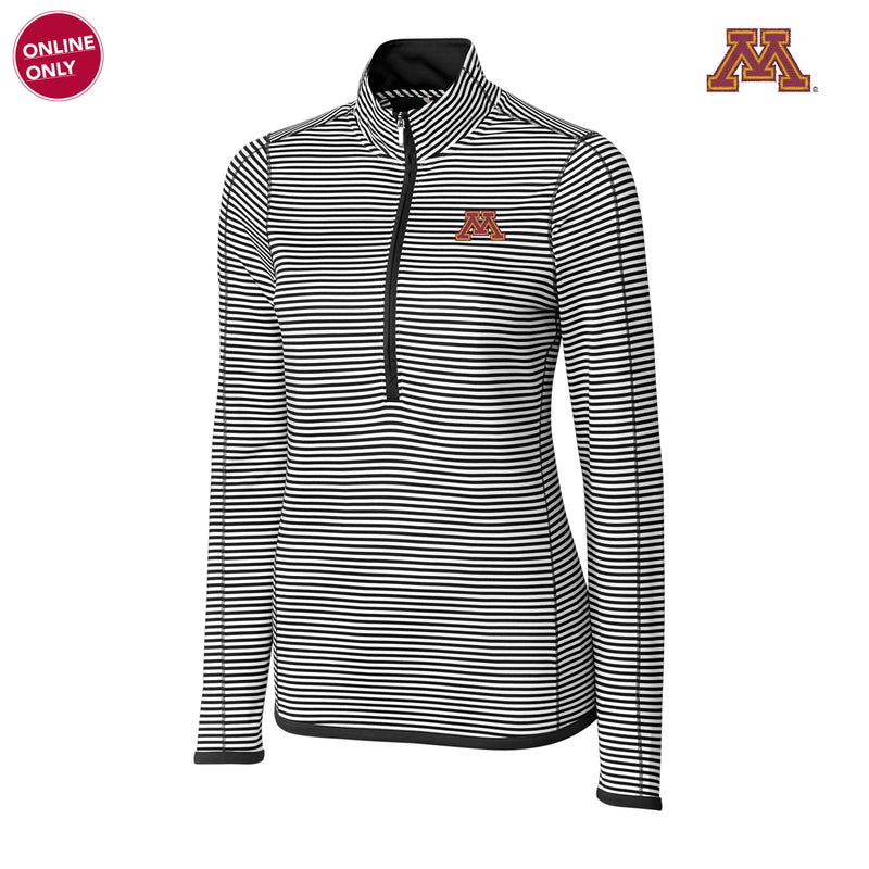 Minnesota CB DryTec Women's Long Sleeve 3/4 Zip Trevor Stripe - Black