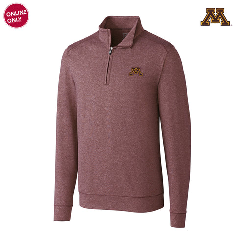 Minnesota Cutter & Buck Shoreline Half Zip - Bordeaux Heather
