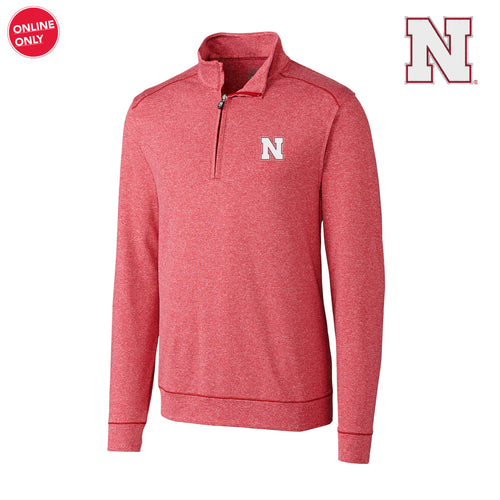 Nebraska Cutter & Buck Shoreline Half Zip - Cardinal Red Heather