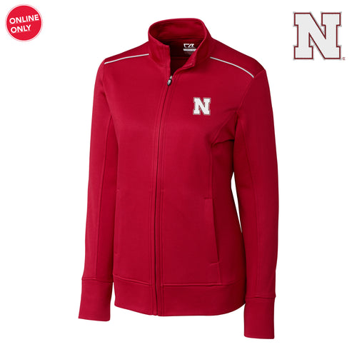 Nebraska Cutter & Buck Ladies Ridge Full Zip - Cardinal