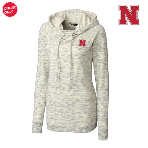 Nebraska Cutter & Buck Women's Long Sleeve Tie Breaker Hoodie - Snow White