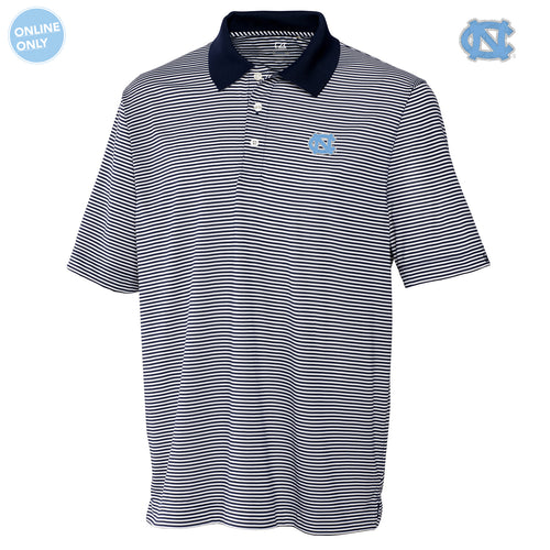 University of North Carolina Cutter & Buck Big & Tall DryTec Trevor Stripe Polo - Navy Blue/White