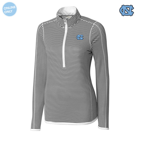 University of North Carolina Cutter & Buck DryTec Women's Long Sleeve 3/4 Zip Trevor Stripe - White